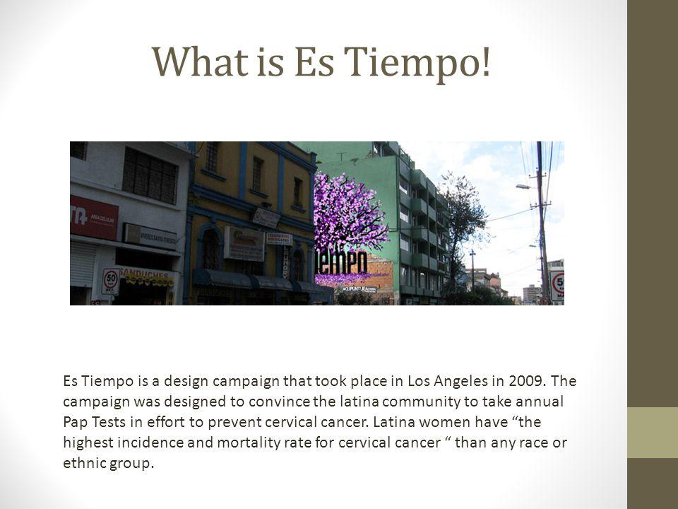 What is Es Tiempo. Es Tiempo is a design campaign that took place in Los Angeles in 2009.