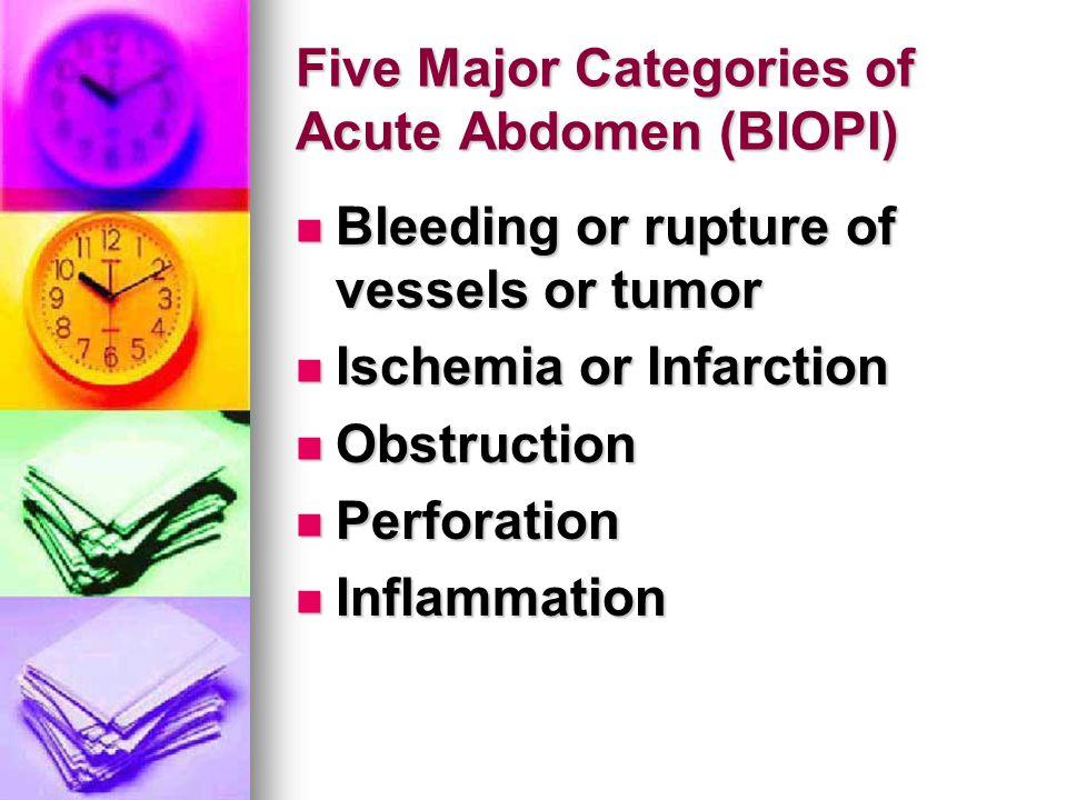 Five Major Categories of Acute Abdomen (BIOPI) Bleeding or rupture of vessels or tumor Bleeding or rupture of vessels or tumor Ischemia or Infarction