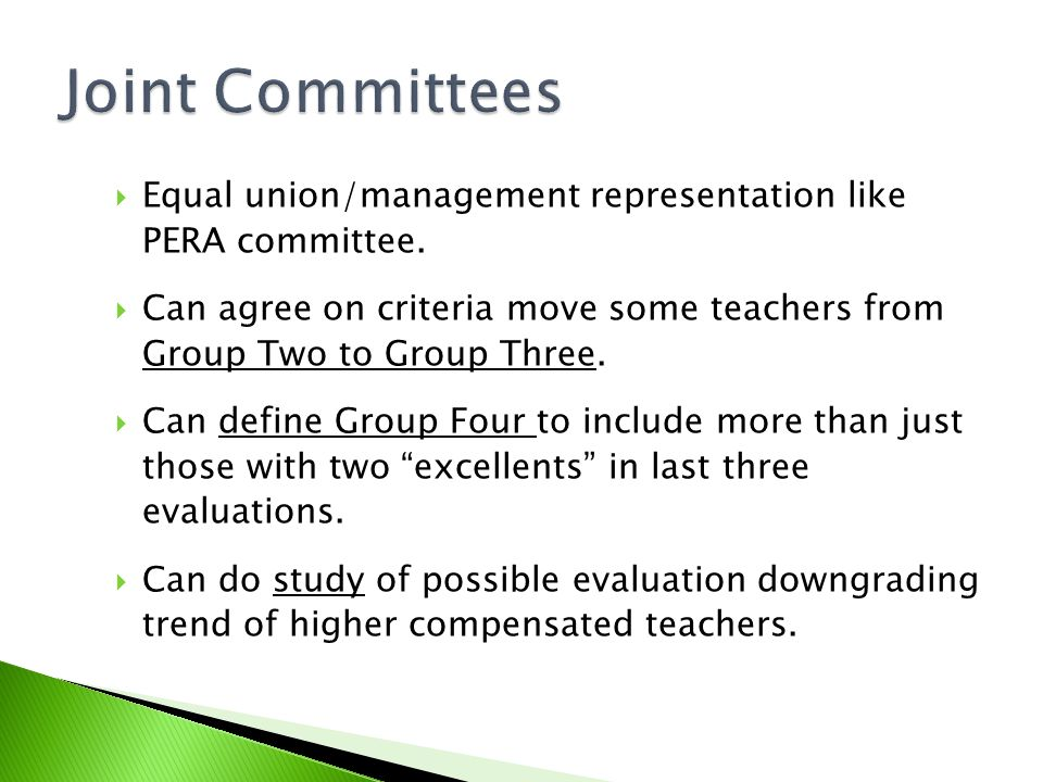  Equal union/management representation like PERA committee.