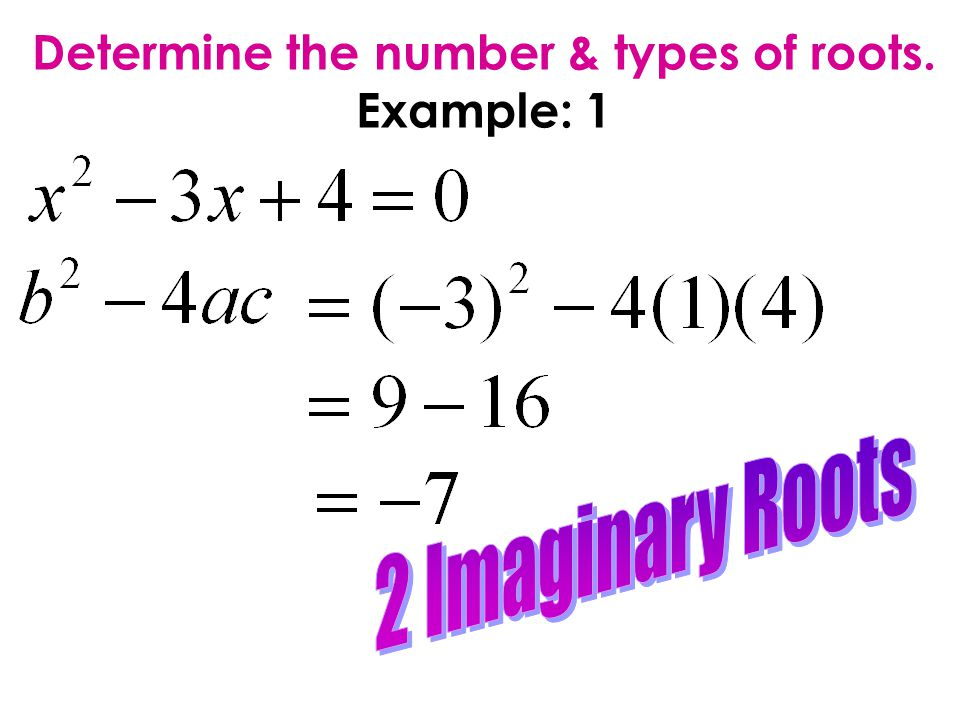 Determine the number & types of roots. Example: 1