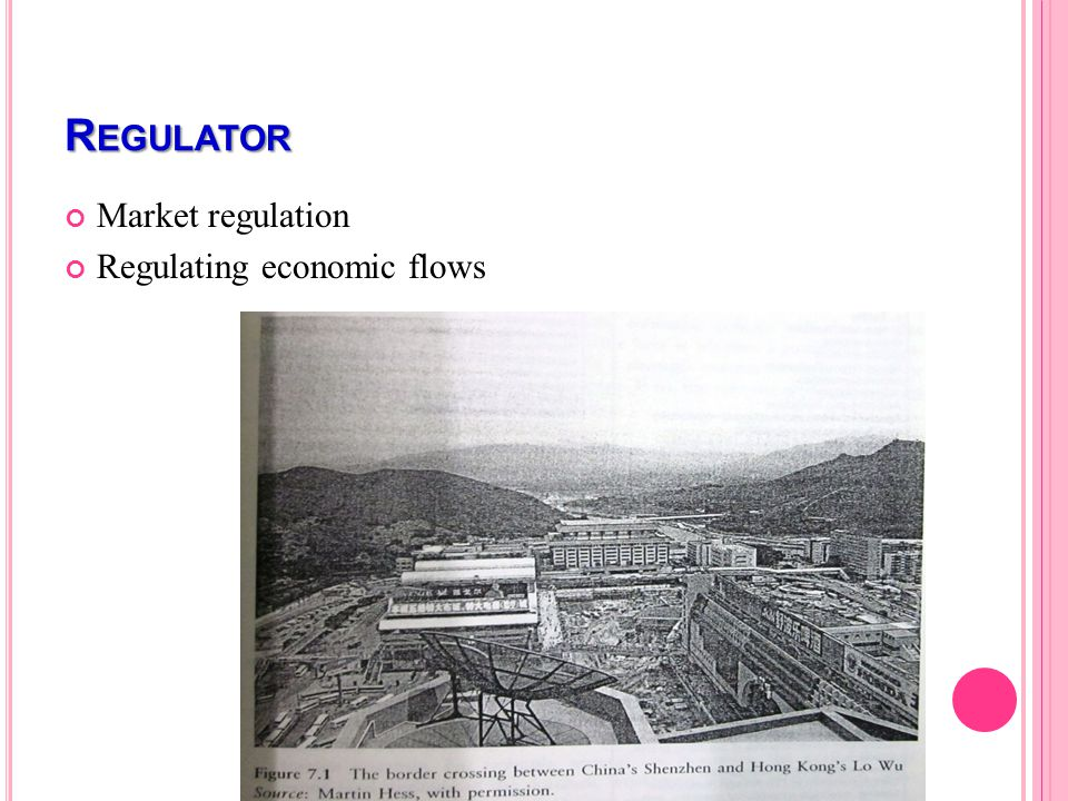 R EGULATOR Market regulation Regulating economic flows