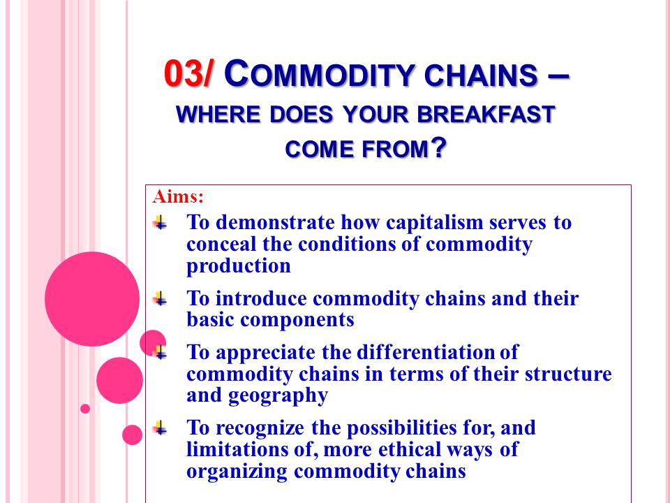 03/ C OMMODITY CHAINS – WHERE DOES YOUR BREAKFAST COME FROM .