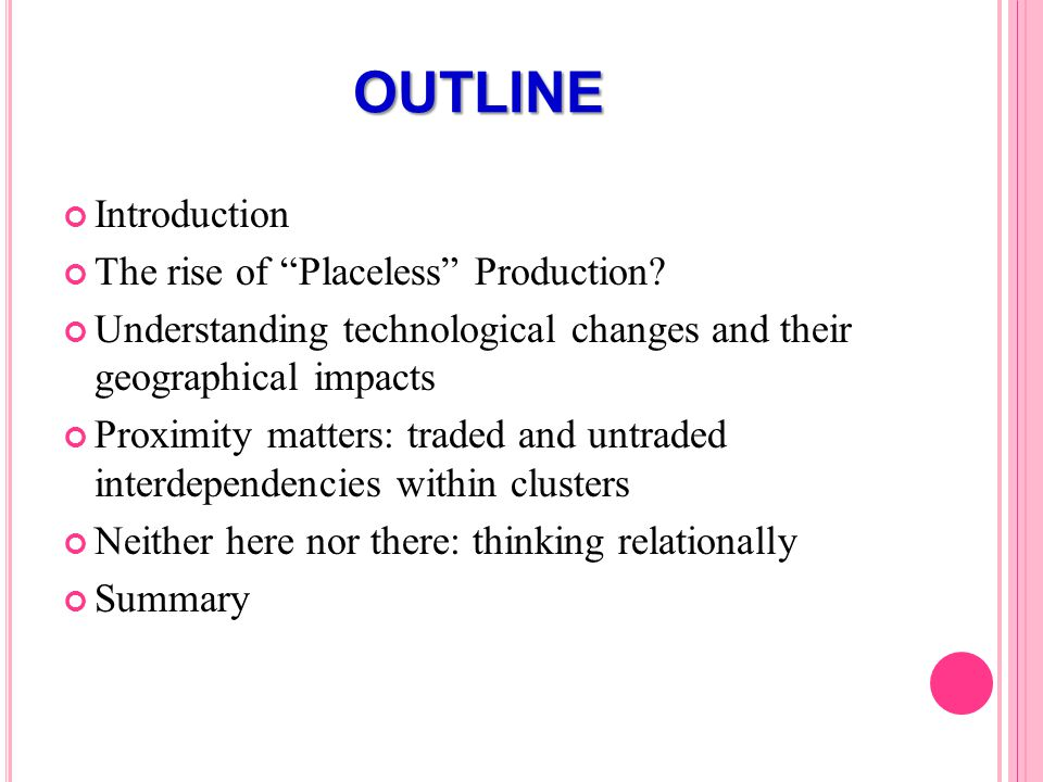 OUTLINE Introduction The rise of Placeless Production.