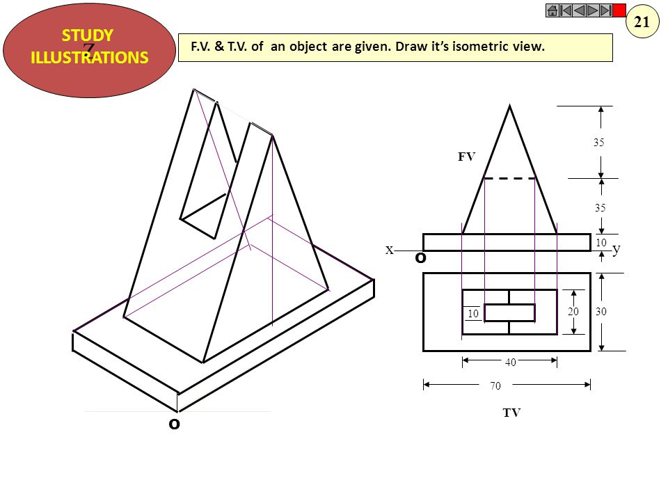 Z STUDY ILLUSTRATIONS X Y 50 20 25 20 O O F.V. & T.V. of an object are given. Draw it's isometric view. 20