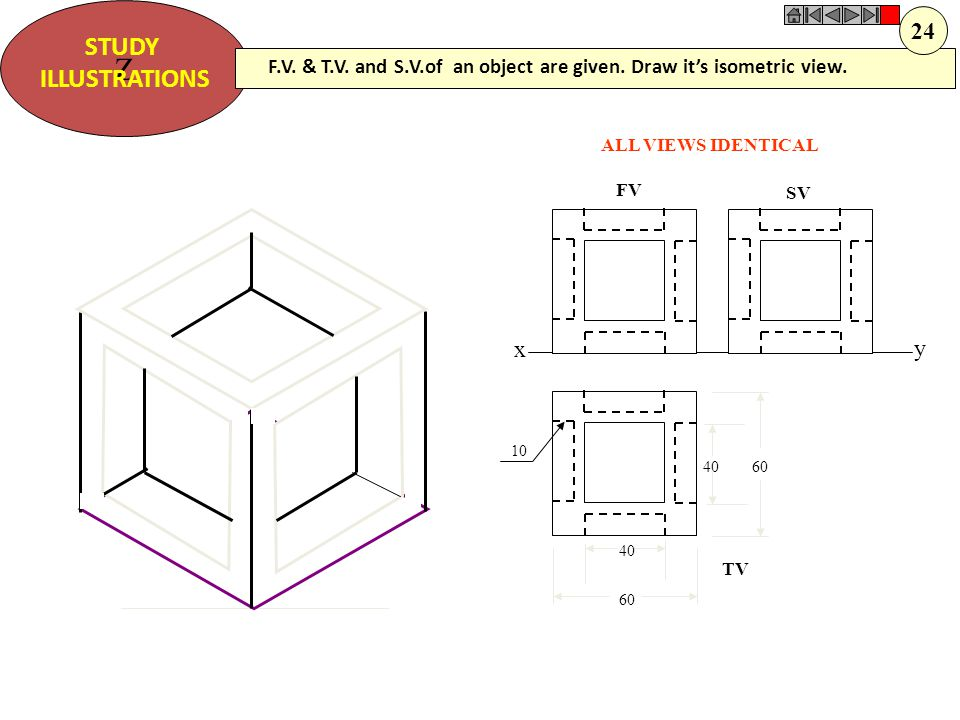 Z STUDY ILLUSTRATIONS xy FV SV TV 30 10 30 10 30 ALL VIEWS IDENTICAL F.V. & T.V. and S.V.of an object are given. Draw it's isometric view. 22