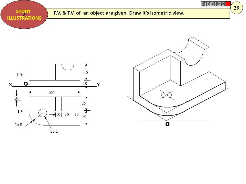 40 10 50 80 10 30 D 45 FV TV O O F.V. & T.V. of an object are given. Draw it's isometric view. Z STUDY ILLUSTRATIONS 28