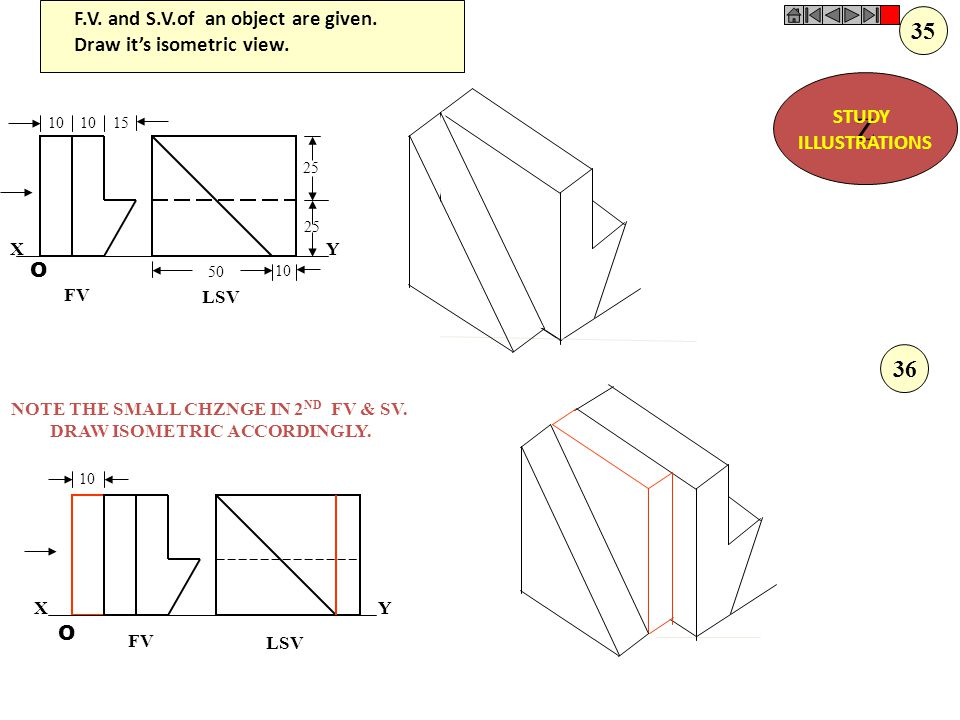 O O 10 30 10 30 40 20 80 30 F.V. T.V. XY F.V. & T.V. of an object are given. Draw it's isometric view. Z STUDY ILLUSTRATIONS 34
