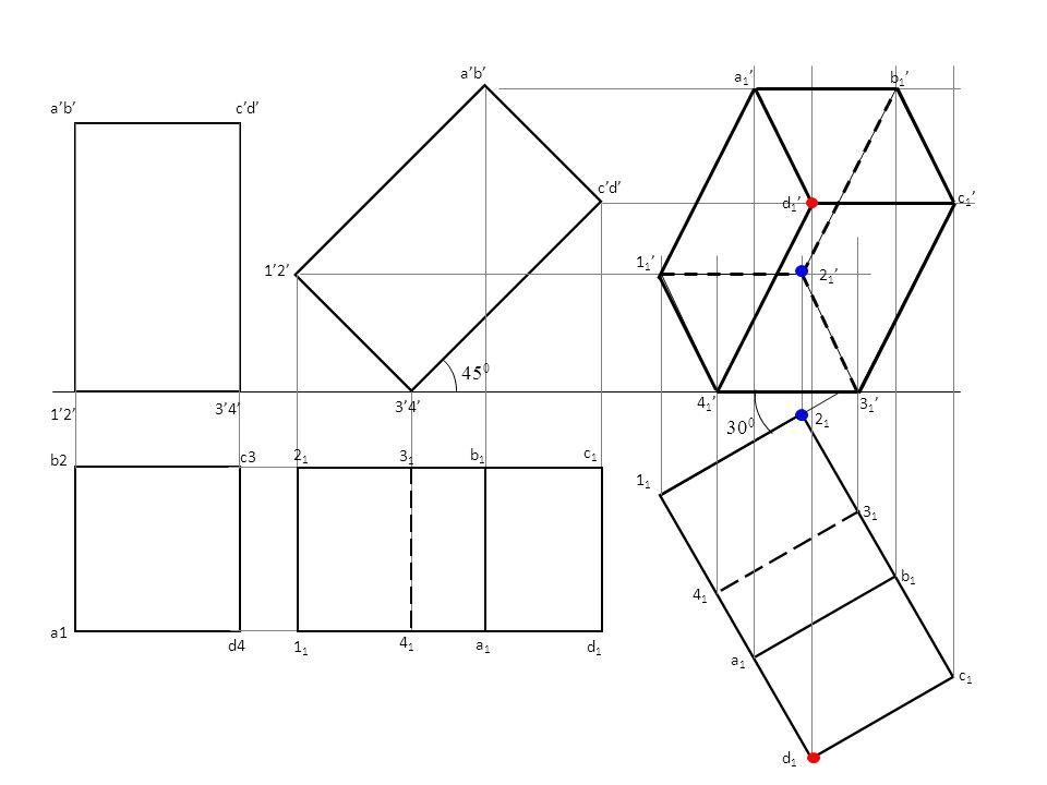X Y X1X1 Y1Y1 TL AIP // to slant edge Showing true length i.e. a'- 1' a' b' e' c' d' 1' 2'5' 3'4' Fv Tv Aux.Tv 1 2 3 4 5 a b d c e 12 3 4 5 b1b1 c1c1