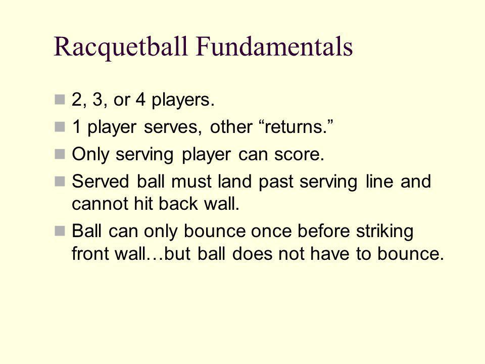 Racquetball Fundamentals 2, 3, or 4 players.