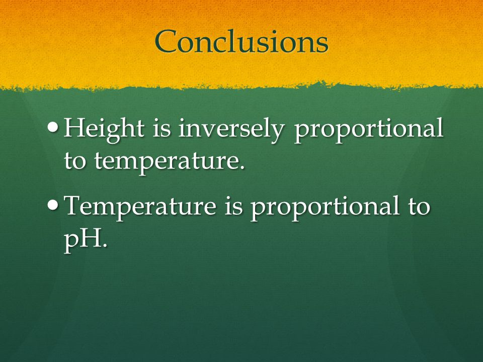 Conclusions Height is inversely proportional to temperature.