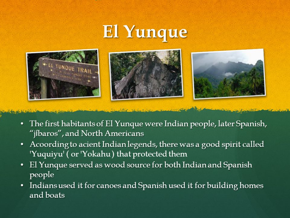 El Yunque The first habitants of El Yunque were Indian people, later Spanish, j í baros , and North Americans The first habitants of El Yunque were Indian people, later Spanish, j í baros , and North Americans Acoording to acient Indian legends, there was a good spirit called Acoording to acient Indian legends, there was a good spirit called Yuquiyu ( or Yokahu ) that protected them El Yunque served as wood source for both Indian and Spanish people El Yunque served as wood source for both Indian and Spanish people Indians used it for canoes and Spanish used it for building homes and boats Indians used it for canoes and Spanish used it for building homes and boats