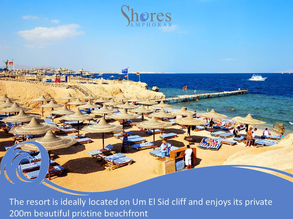 The resort is ideally located on Um El Sid cliff and enjoys its private 200m beautiful pristine beachfront