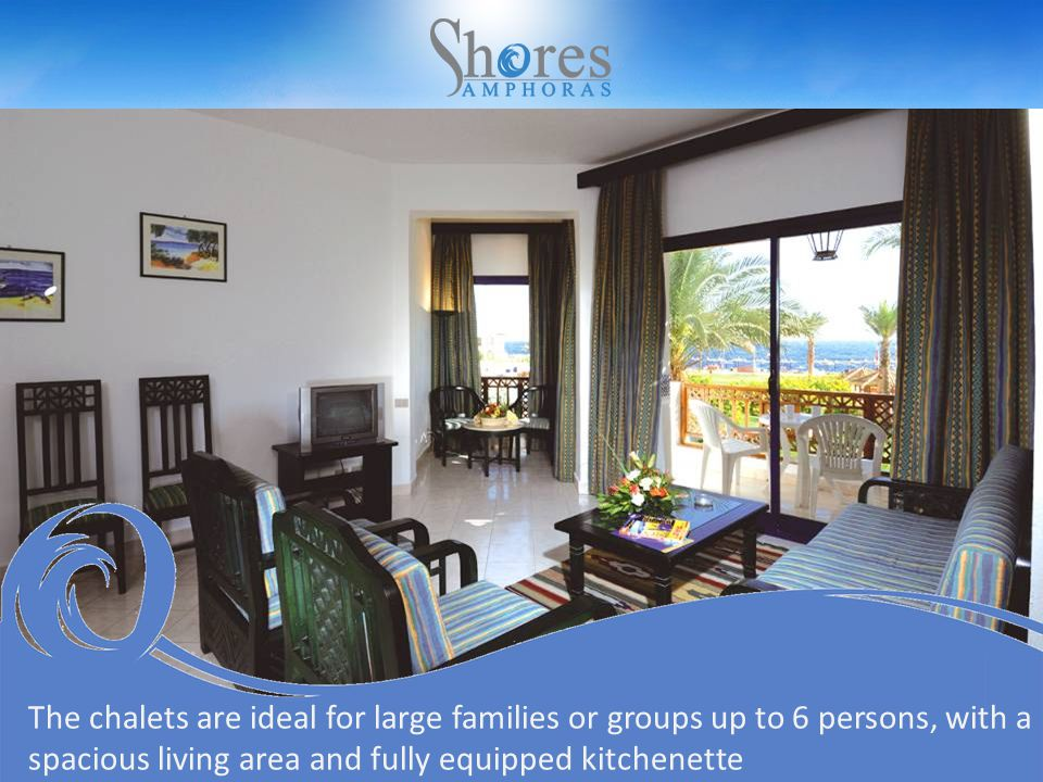 The chalets are ideal for large families or groups up to 6 persons, with a spacious living area and fully equipped kitchenette