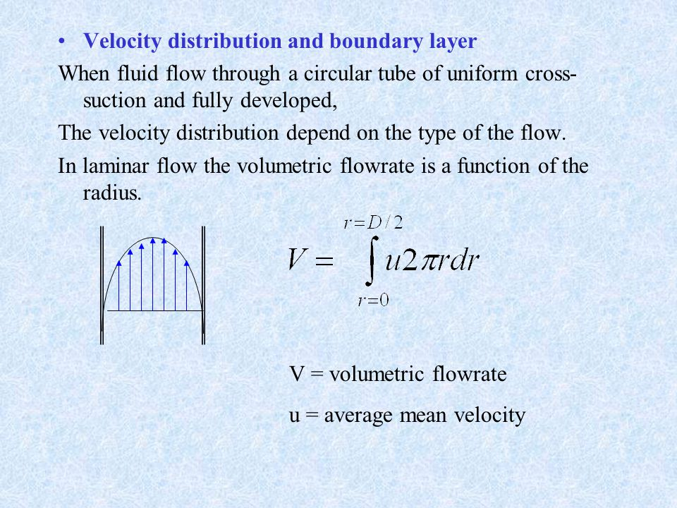 Velocity distribution and boundary layer When fluid flow through a circular tube of uniform cross- suction and fully developed, The velocity distribut