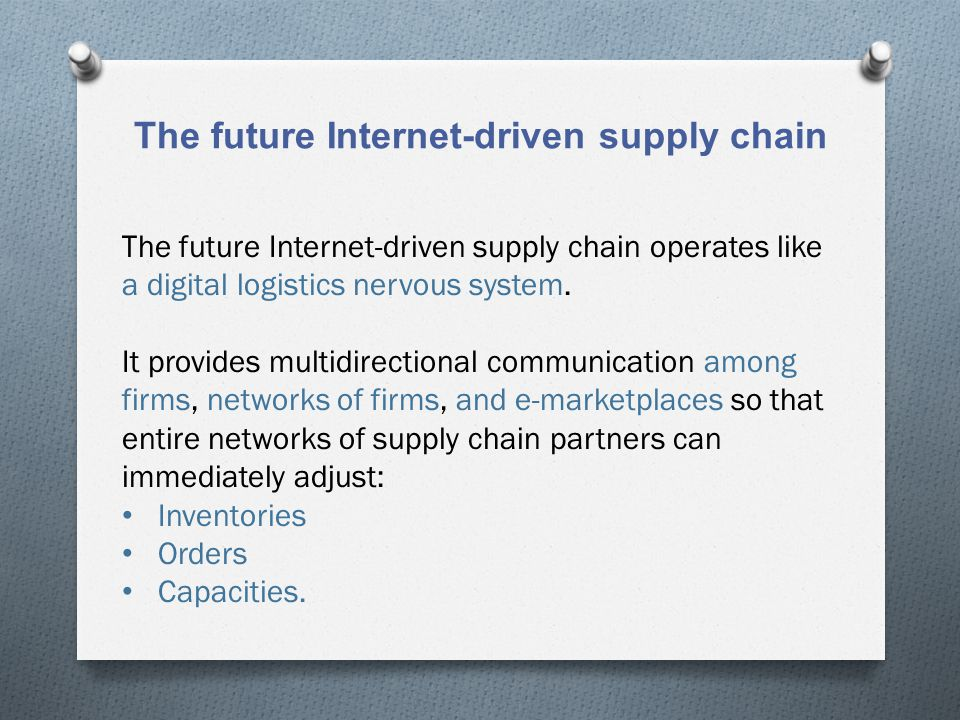 The future Internet-driven supply chain The future Internet-driven supply chain operates like a digital logistics nervous system. It provides multidir
