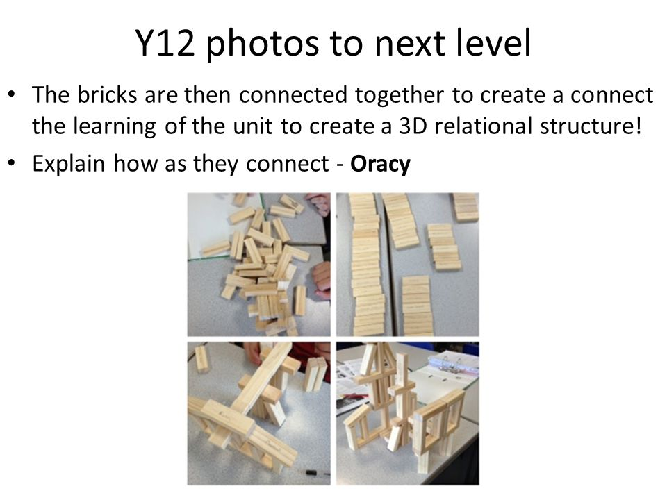 Y12 photos to next level The bricks are then connected together to create a connect the learning of the unit to create a 3D relational structure.