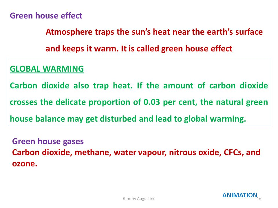 Green house effect Atmosphere traps the sun's heat near the earth's surface and keeps it warm. It is called green house effect GLOBAL WARMING Carbon d