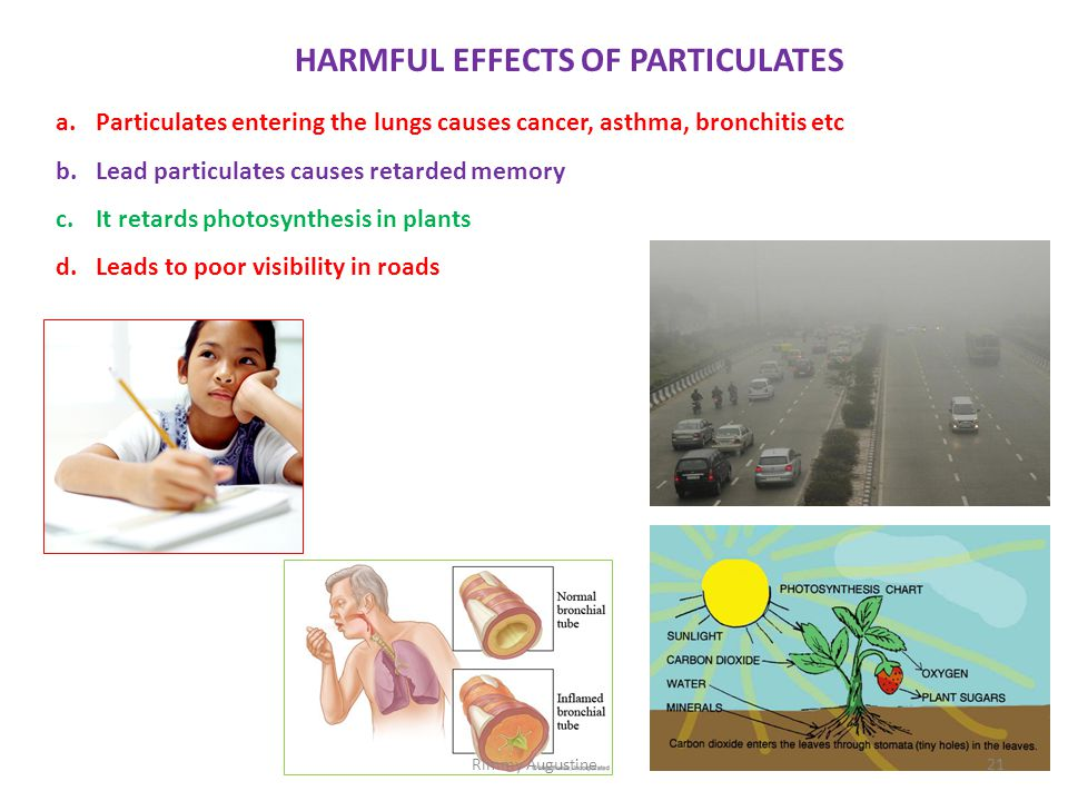 HARMFUL EFFECTS OF PARTICULATES a.Particulates entering the lungs causes cancer, asthma, bronchitis etc b.Lead particulates causes retarded memory c.I