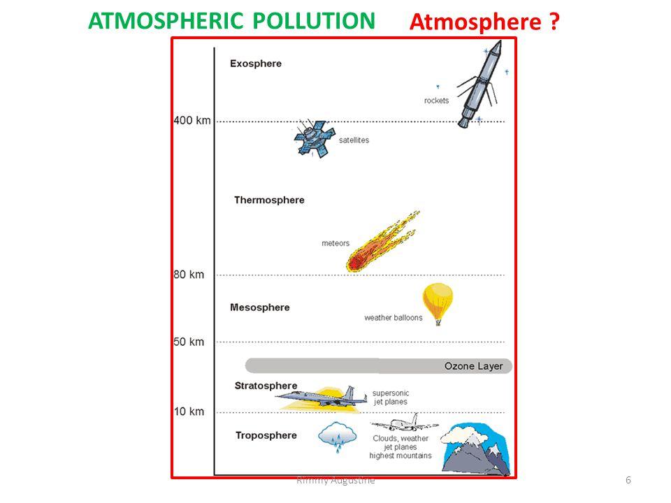 ATMOSPHERIC POLLUTION- types 1.Tropospheric pollution 2.Stratospheric pollution 7Rimmy Augustine