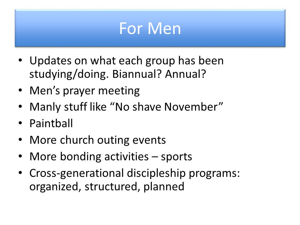 For Men Updates on what each group has been studying/doing.