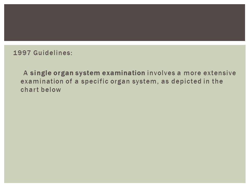 1997 Guidelines: A single organ system examination involves a more extensive examination of a specific organ system, as depicted in the chart below