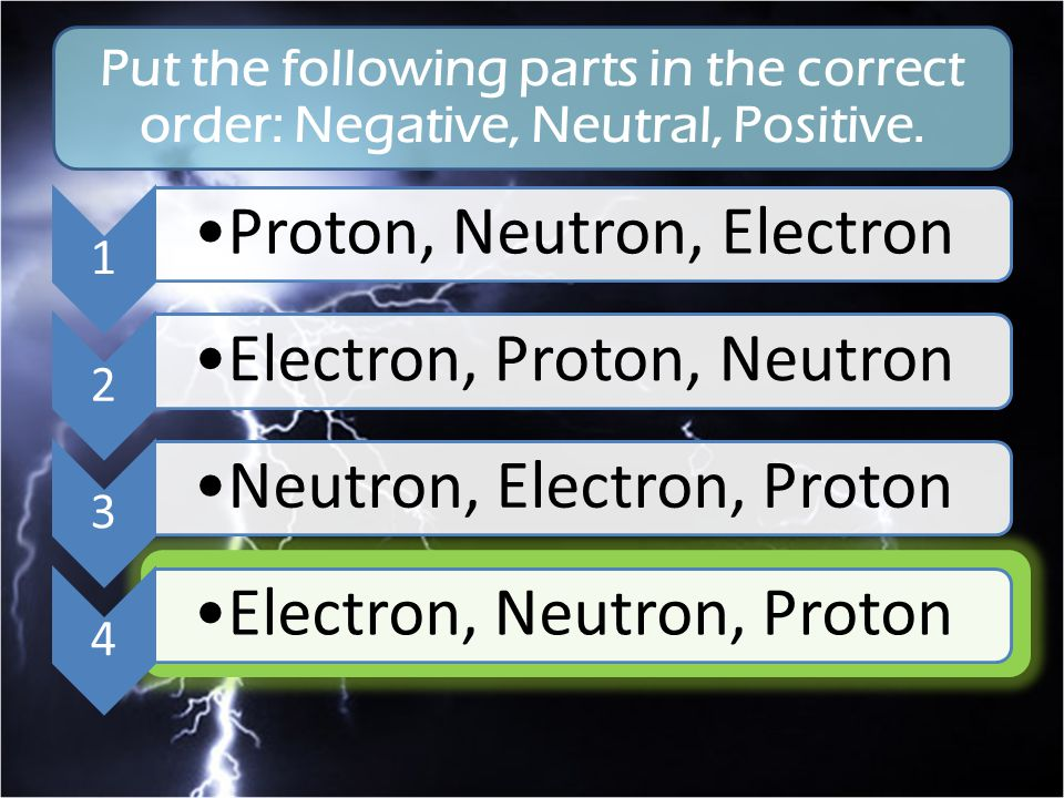 1 Proton, Neutron, Electron 2 Electron, Proton, Neutron 3 Neutron, Electron, Proton 4 Electron, Neutron, Proton Put the following parts in the correct