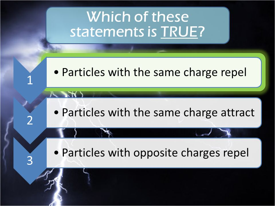 1 Particles with the same charge repel 2 Particles with the same charge attract 3 Particles with opposite charges repel Which of these statements is T