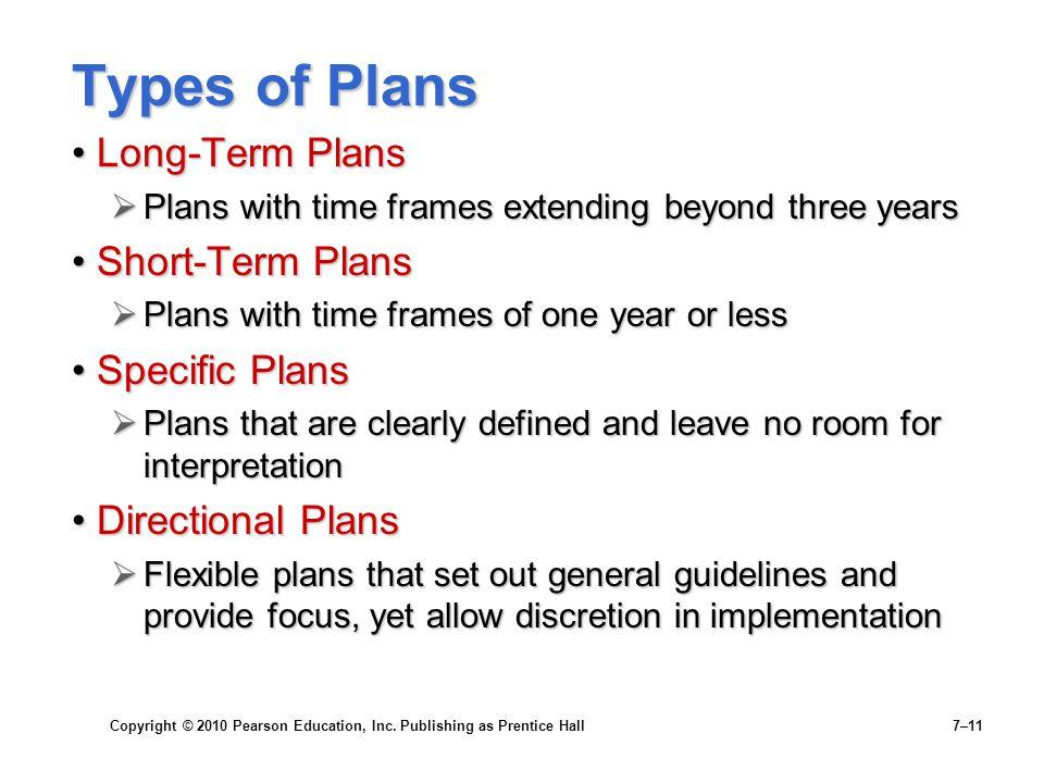 Copyright © 2010 Pearson Education, Inc. Publishing as Prentice Hall 7–11 Types of Plans Long-Term PlansLong-Term Plans  Plans with time frames exten