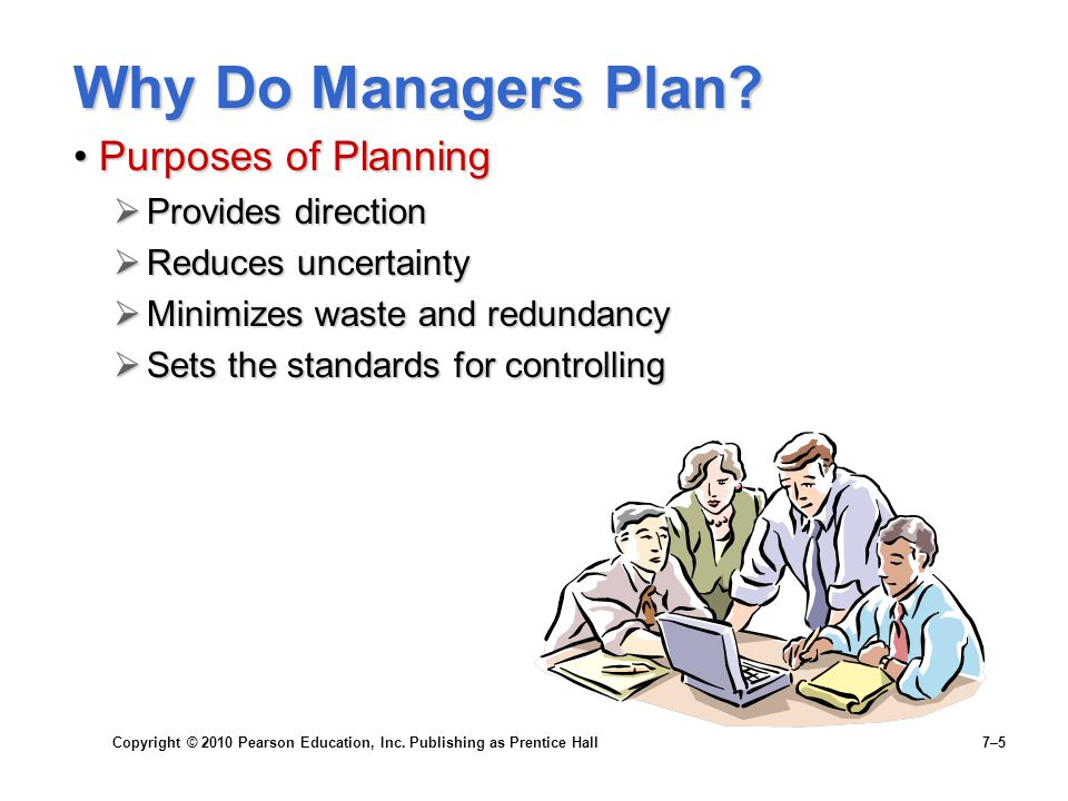 Copyright © 2010 Pearson Education, Inc. Publishing as Prentice Hall 7–5 Why Do Managers Plan? Purposes of PlanningPurposes of Planning  Provides dir