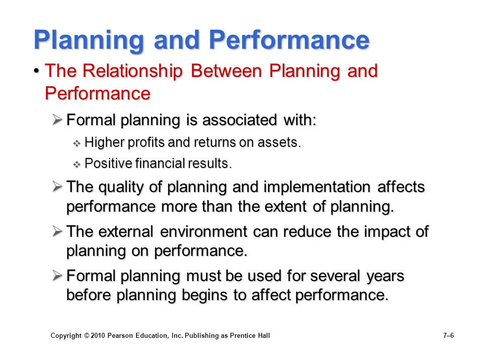 Copyright © 2010 Pearson Education, Inc. Publishing as Prentice Hall 7–6 Planning and Performance The Relationship Between Planning and PerformanceThe
