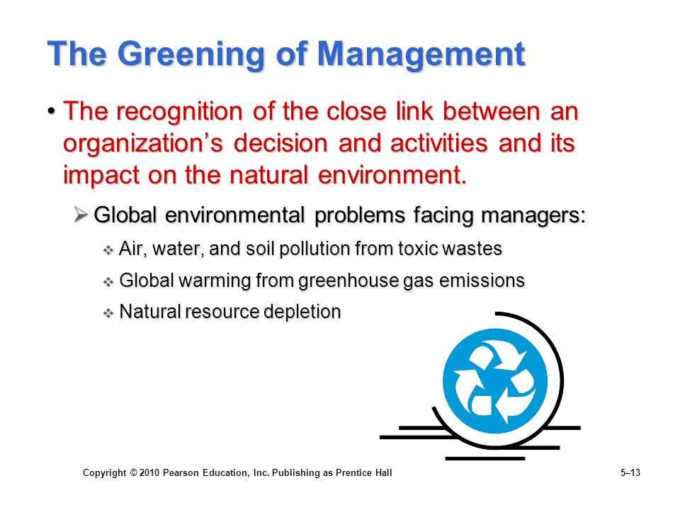 Copyright © 2010 Pearson Education, Inc. Publishing as Prentice Hall 5–13 The Greening of Management The recognition of the close link between an orga