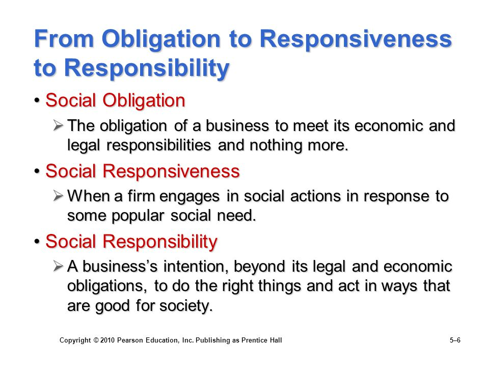 Copyright © 2010 Pearson Education, Inc. Publishing as Prentice Hall 5–6 From Obligation to Responsiveness to Responsibility Social ObligationSocial O