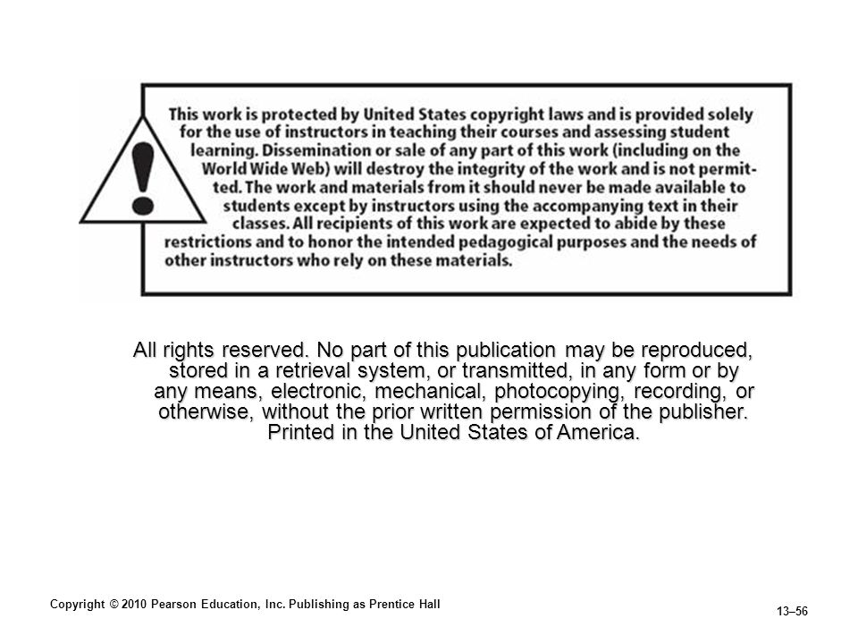 Copyright © 2010 Pearson Education, Inc.Publishing as Prentice Hall 13–56 All rights reserved.