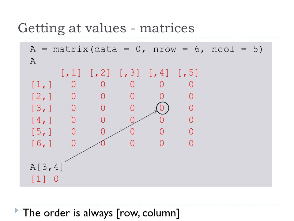 Getting at values - matrices A = matrix(data = 0, nrow = 6, ncol = 5) A [,1] [,2] [,3] [,4] [,5] [1,] 0 0 0 0 0 [2,] 0 0 0 0 0 [3,] 0 0 0 0 0 [4,] 0 0 0 0 0 [5,] 0 0 0 0 0 [6,] 0 0 0 0 0 A[3,4] [1] 0 The order is always [row, column]