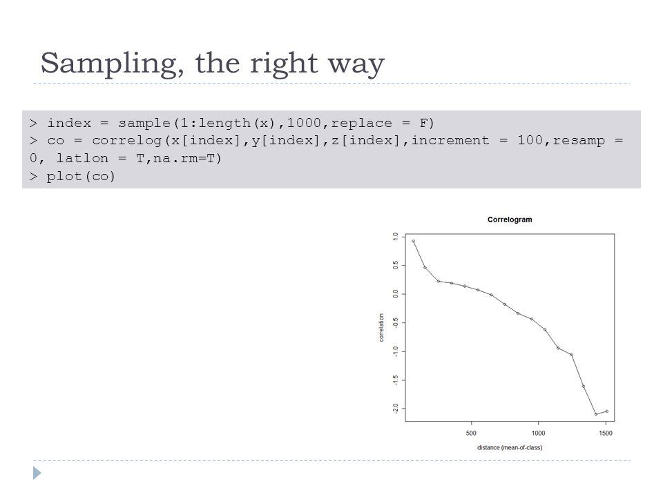 Sampling, the right way > index = sample(1:length(x),1000,replace = F) > co = correlog(x[index],y[index],z[index],increment = 100,resamp = 0, latlon = T,na.rm=T) > plot(co)