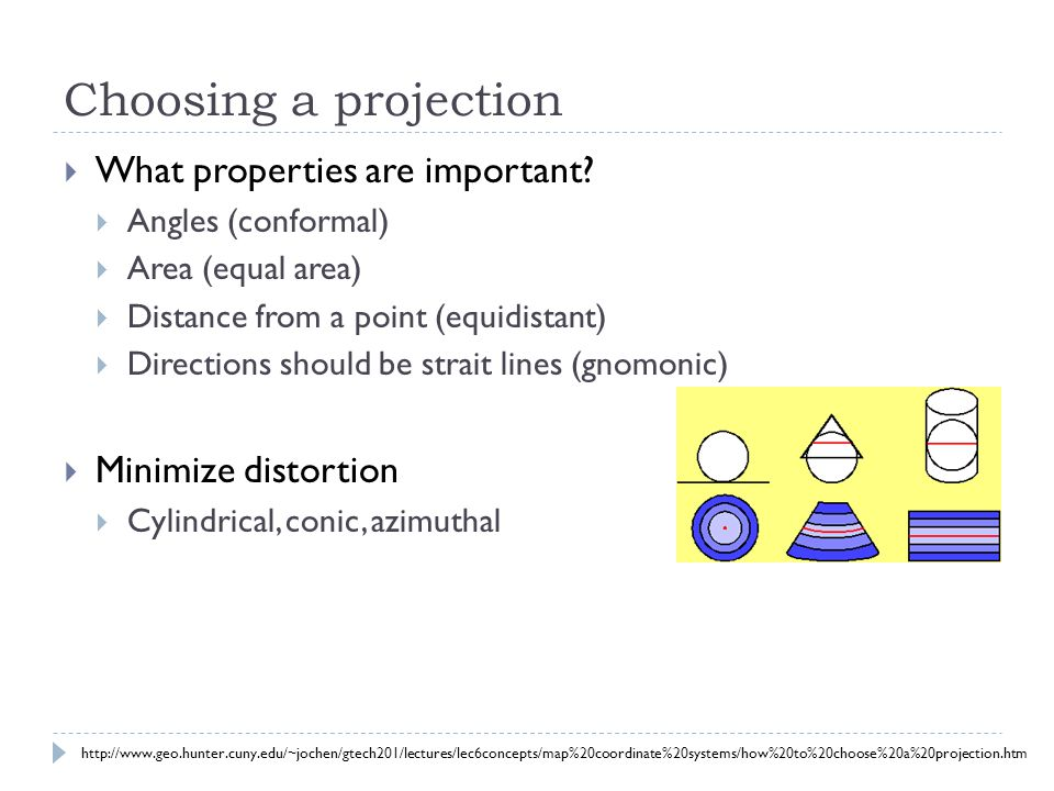 Choosing a projection  What properties are important?  Angles (conformal)  Area (equal area)  Distance from a point (equidistant)  Directions sho