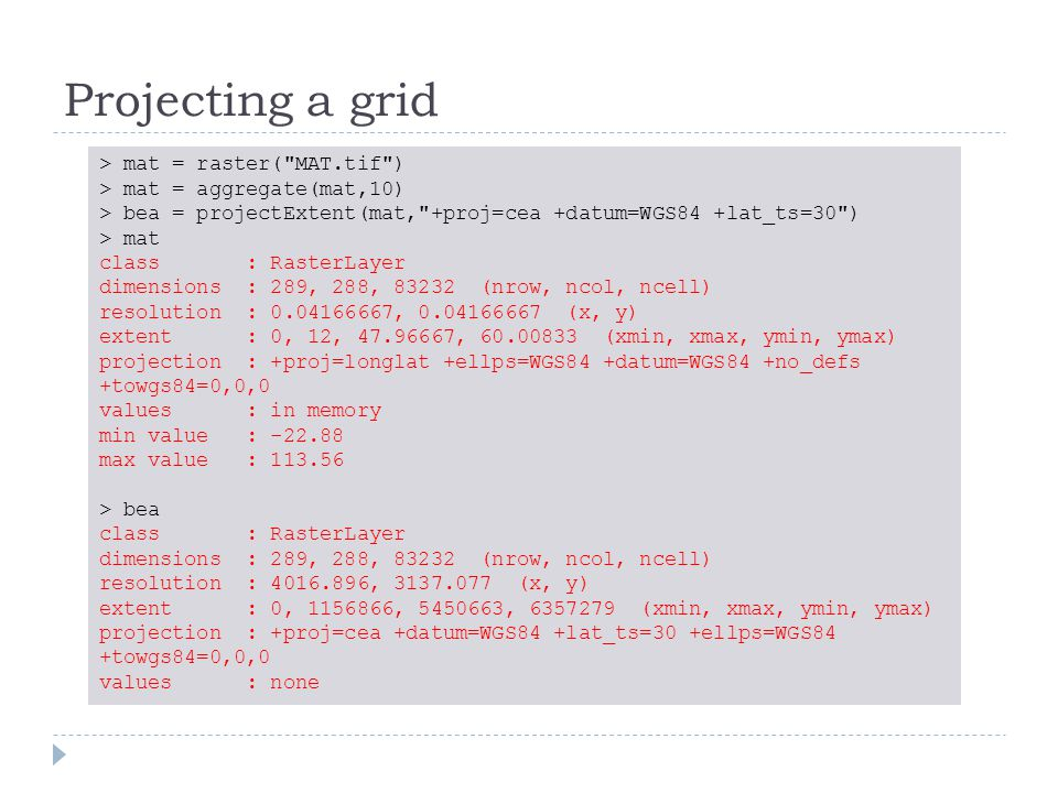 Projecting a grid > mat = raster(