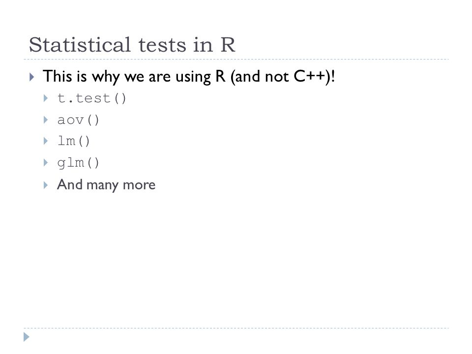 A break to try things out  t test  anova  linear models