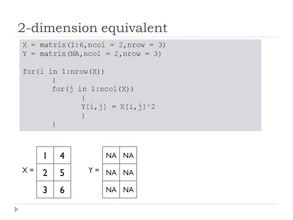 2-dimension equivalent X = matrix(1:6,ncol = 2,nrow = 3) Y = matrix(NA,ncol = 2,nrow = 3) for(i in 1:nrow(X)) { for(j in 1:ncol(X)) { Y[i,j] = X[i,j]^2 } 14 X = 25 36 NA Y = NA