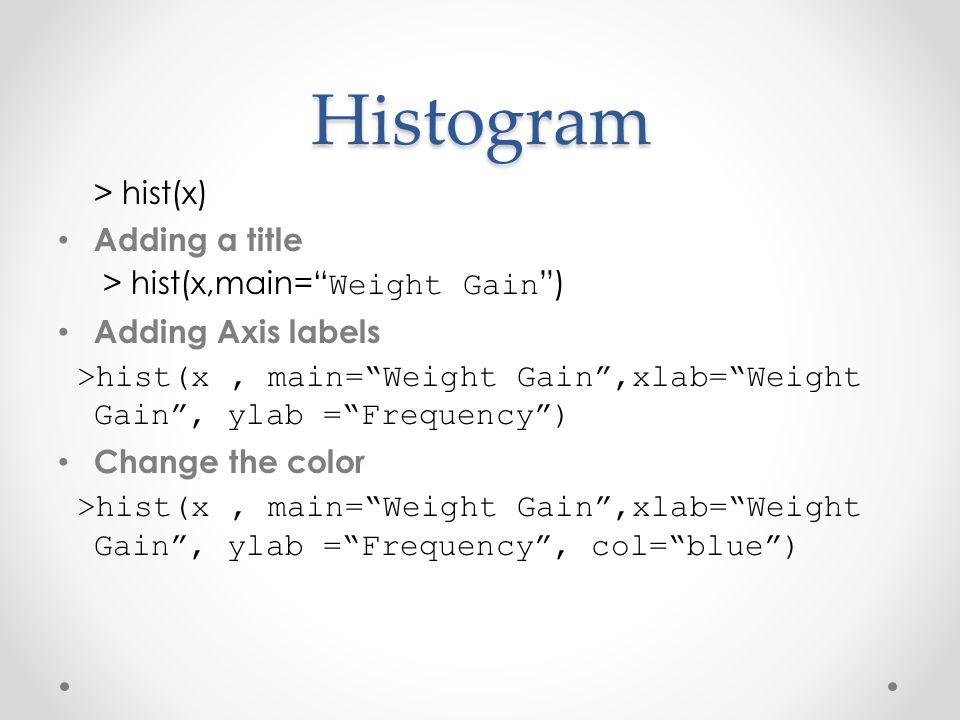 "Histogram > hist(x) Adding a title > hist(x,main="" Weight Gain "") Adding Axis labels >hist(x, main=""Weight Gain"",xlab=""Weight Gain"", ylab =""Frequency"""