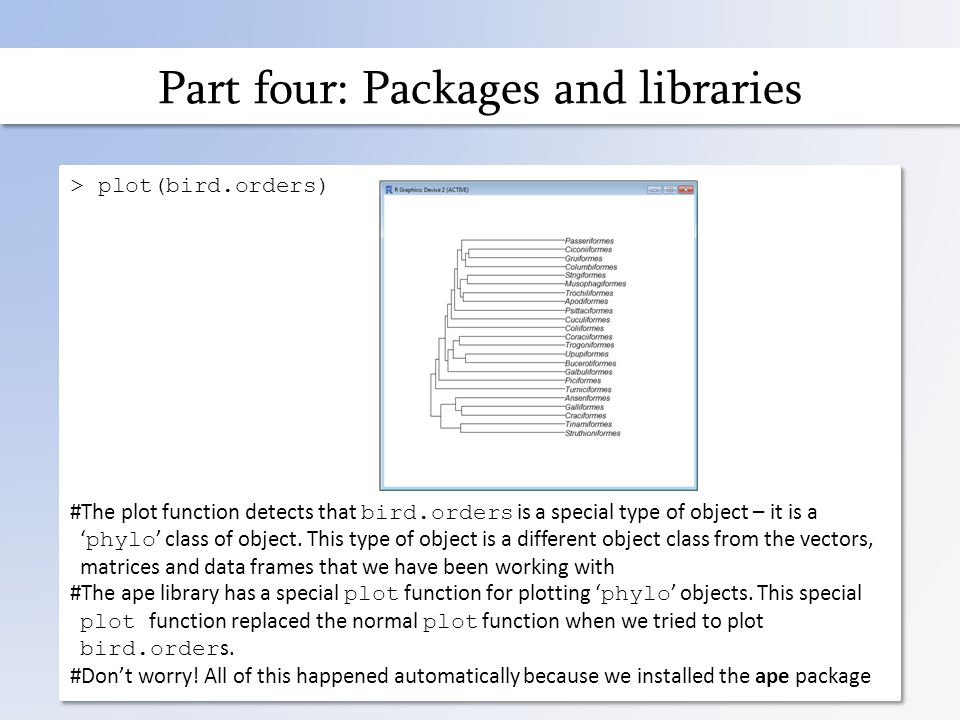 Part four: Packages and libraries > plot(bird.orders) #The plot function detects that bird.orders is a special type of object – it is a ' phylo ' class of object.