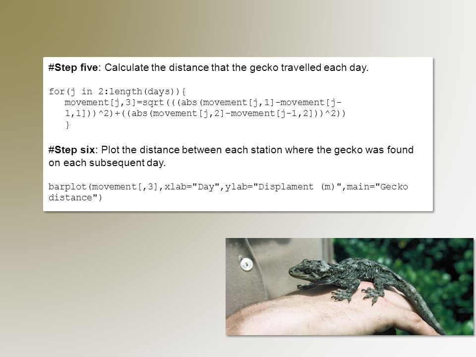 #Step five: Calculate the distance that the gecko travelled each day.