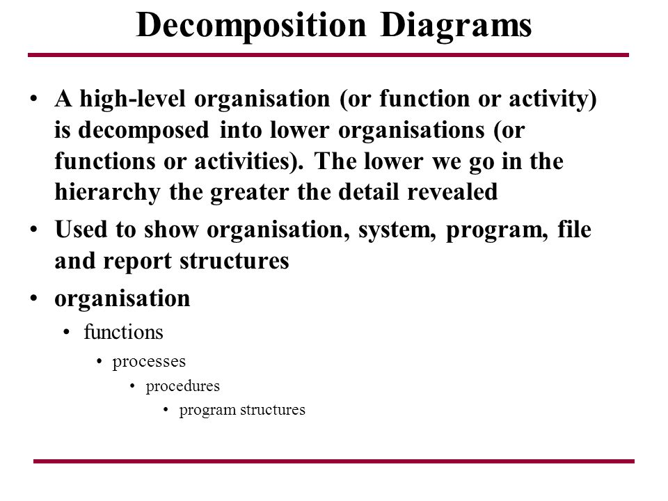 Decomposition Diagrams A high-level organisation (or function or activity) is decomposed into lower organisations (or functions or activities). The lo