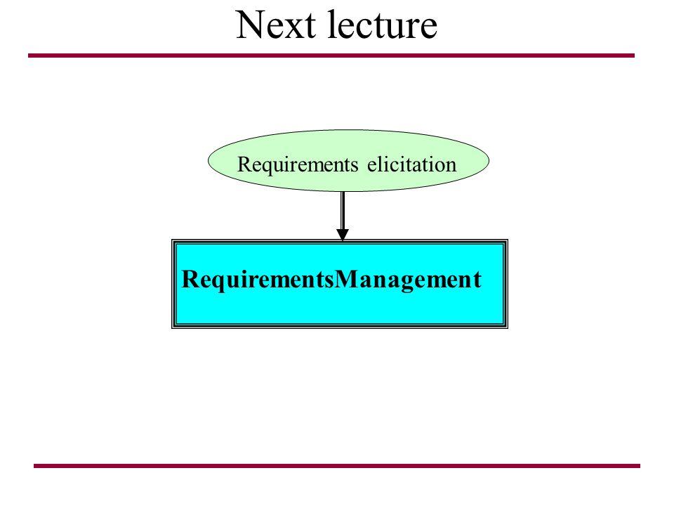 Next lecture RequirementsManagement Requirements elicitation