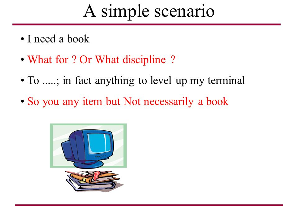 A simple scenario I need a book What for ? Or What discipline ? To.....; in fact anything to level up my terminal So you any item but Not necessarily