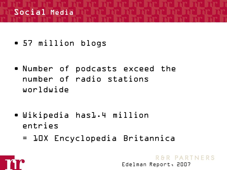Social Media 57 million blogs Number of podcasts exceed the number of radio stations worldwide Wikipedia has1.4 million entries = 10X Encyclopedia Britannica Edelman Report, 2007