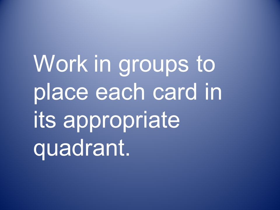 Work in groups to place each card in its appropriate quadrant.