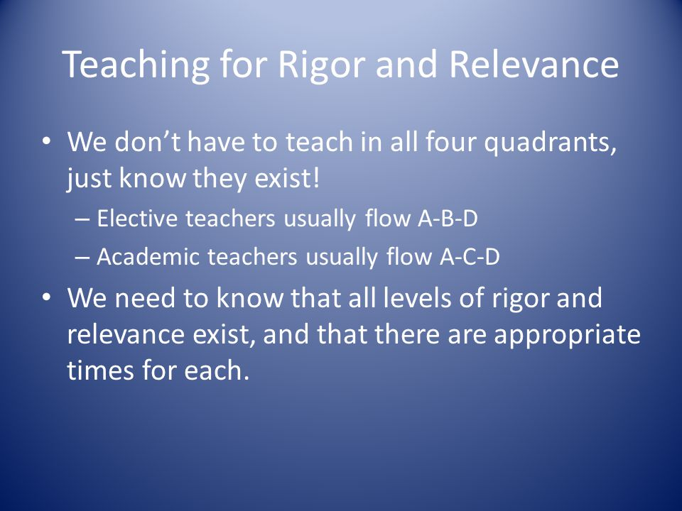 Teaching for Rigor and Relevance We don't have to teach in all four quadrants, just know they exist.