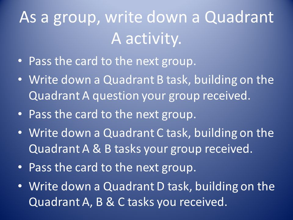 As a group, write down a Quadrant A activity. Pass the card to the next group.