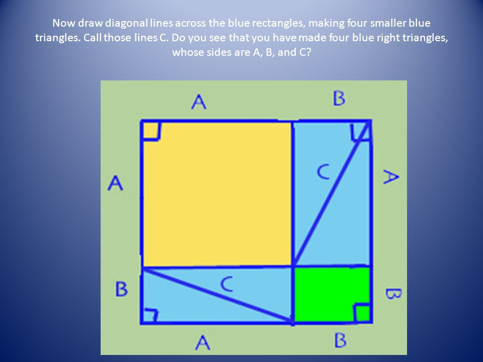 Now draw diagonal lines across the blue rectangles, making four smaller blue triangles.
